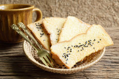Toast bread with coffee cup Royalty Free Stock Image