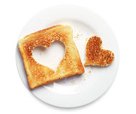 Toast bread with cut out heart shape Royalty Free Stock Photography