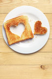 Toast bread with cut out heart shape Stock Image