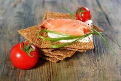 Toast the bread from grain and salmon. Royalty Free Stock Photos