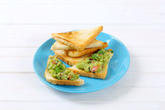 Toast bread with guacamole Royalty Free Stock Photo