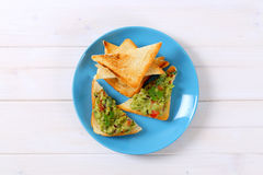 Toast bread with guacamole Stock Image