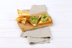 Toast bread with guacamole Stock Photo