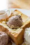 Toast Bread with ice cream Royalty Free Stock Image