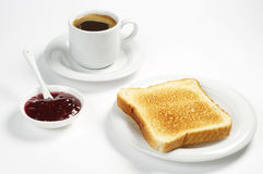 Toast bread with jam and coffee Royalty Free Stock Photos