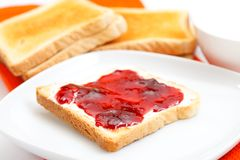 Toast bread with jam on a plate Stock Image