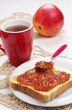 Toast bread with jam and tea Stock Photos