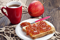 Toast bread with jam and tea Stock Photo