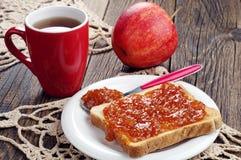 Toast bread with jam and tea Stock Photo