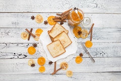 Toast bread with jam on vintage wooden table Royalty Free Stock Image