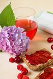 Toast bread with marmalade and fruit around Royalty Free Stock Photo