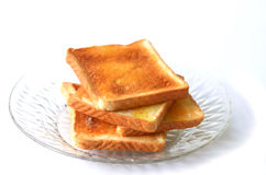 Toast Bread. Toast the bread and place in a dish Royalty Free Stock Photos