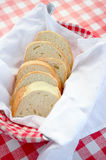 Toast bread in plate basket, background is red plaid check dinner cloth, full of east europe style, such as Hungary, Bolgaria Royalty Free Stock Image