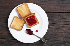 Toast bread in plate stock photo