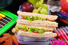 Toast bread sandwiches for school breakfast Royalty Free Stock Photo