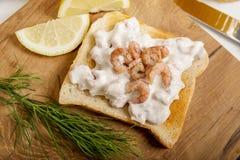 Toast bread with shrimp salad, dill and lemon Royalty Free Stock Photo