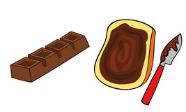 Toast bread slice and chocolate bar. Stock Photos