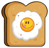 Toast Bread Slice With Smiling Egg Cartoon Character Stock Photo