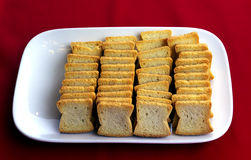 Toast bread slices on a plate stock image