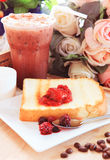 Toast bread and sweet strawberry and berry jam in white dish bes Stock Photos