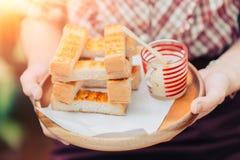 Toast Bread with Sweetened Condensed Milk Dessert. Breakfast menu Stock Image