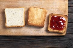 Toast bread on the table stock images