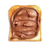 Toast bread with tasty chocolate spread. On white background royalty free stock photo