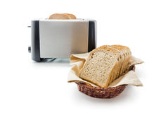 Toast bread and toaster Royalty Free Stock Photos