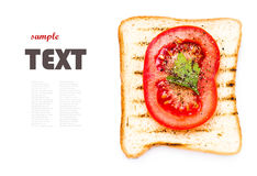 Toast bread, tomato and herbs, isolated on white background, clo Royalty Free Stock Photography