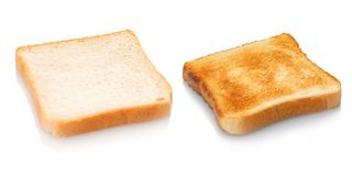 Toast bread untoasted and toasted royalty free stock image