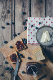 Toast bread with wild strawberry jam. Royalty Free Stock Image