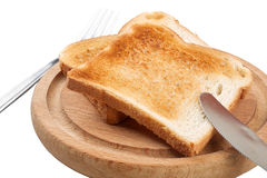 Toast bread on wooden tray Royalty Free Stock Image