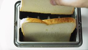 Making toast for breakfast. Toast for breakfast cooking close-up wheat bread stock video