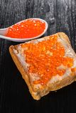 Toast with butter and caviar Stock Images