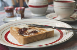 Toast with butter and jam royalty free stock photos