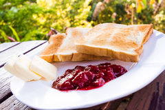 Toast with butter and jam Royalty Free Stock Photography