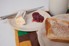 Toast with Butter and Jelly Stock Photos