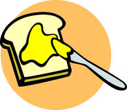 Toast with butter and knife vector illustration Royalty Free Stock Photography