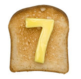 Toast with Butter Number Royalty Free Stock Photos