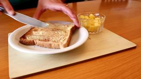 Toast and Butter Spread stock video footage