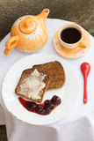 Toast with Butter, Strawberry Jam and Coffee Stock Images