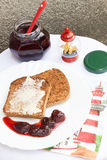 Toast with Butter and Strawberry Jam Royalty Free Stock Image