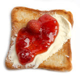 Toast with butter and strawberry jam Royalty Free Stock Photos