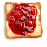 Toast with butter and strawberry jam Stock Image