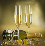 A Toast campagne. Toast champagne, new year, gift golden background Stock Images