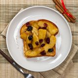 Toast with caramelized apple Royalty Free Stock Images