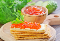 Toast with caviar Stock Photos