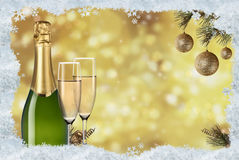Toast champagne. And background light Royalty Free Stock Photo