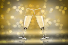 Toast champagne. Toast with background ligth flute Stock Photos
