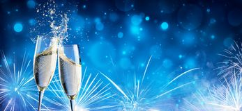 Toast With Champagne And Fireworks. In Shiny Night stock photo